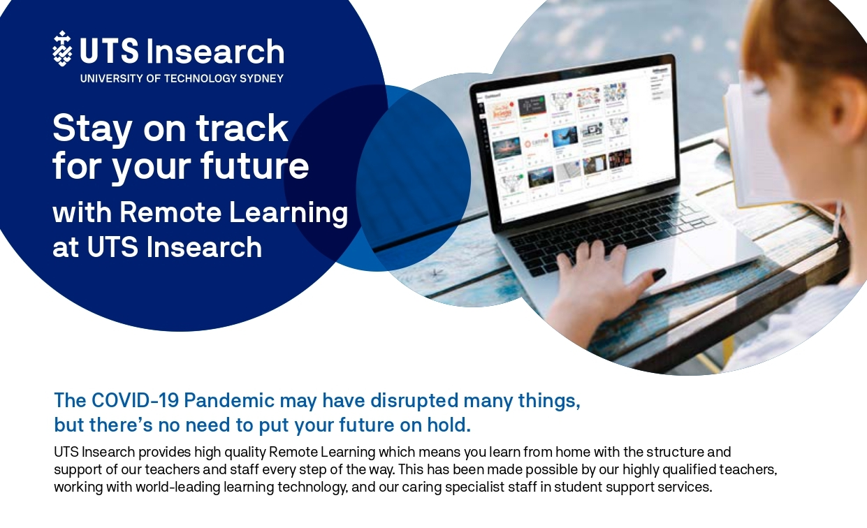 Stay on track for your future with Remote Learning at UTS Insearch